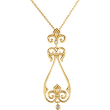 """Beautiful 14Kt yellow gold decorative dangle necklace features white shimmering diamonds with .08 carats of diamonds hanging from a 18"""" inch chain which is included."""