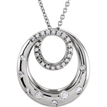 """Beautiful 14Kt white gold necklace featuring white shimmering diamonds with 1/3 carats of diamonds hanging from a 18"""" inch chain which is included."""