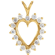 """Beautiful 14Kt yellow gold heart necklace features white shimmering diamonds with 1/2 carats of diamonds hanging from a 18"""" inch chain which is included."""