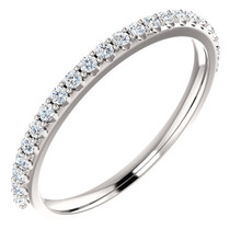 Brilliant alone or stacked with other rings, this diamond anniversary band in 14k white gold showcases a full circle of sparkling round diamonds. Set with round full cut diamonds totaling 0.25 carat, G-H color grade, SI2-SI3 clarity grade, and EXCELLENT cut grade.
