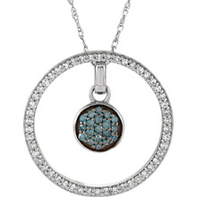 Sweetly shimmering, this blue and white diamond 3-in-1 Circle is a study in color and contrast. Radiant with 1/3 ct. t.w. of diamonds and finished with a bright polished shine, this pendant suspends along an 18.0-inch rope chain that secures with a spring ring clasp.