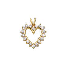 "Beautiful 14Kt yellow gold heart necklace features white shimmering diamonds with 9/10 carats of diamonds hanging from a 18"" inch chain which is included."