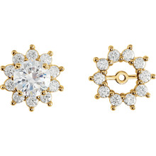 Dress up your favorite solitaire stud earrings with a halo of diamonds with this glittering pair of earring jackets. Simply place the post of your own earring through the center hole in the earring jacket to create a fresh new look.  Each earring is set with 10 prong-set round diamonds in a jacket crafted of 14k yellow gold. Diamonds are rated G-H for color, I1 for clarity, with a total 3/4 carat weight.  Studs are not included.