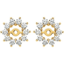 Dress up your favorite solitaire stud earrings with a halo of diamonds with this glittering pair of earring jackets. Simply place the post of your own earring through the center hole in the earring jacket to create a fresh new look.  Each earring is set with 10 prong-set round diamonds in a jacket crafted of 14k yellow gold. Diamonds are rated G-H for color, I1 for clarity, with a total 5/8 carat weight. Earrings are a size 10.50mm and a bright polish to shine.  Studs are not included.