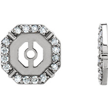Each diamond earring jacket features 32 brilliant cut diamonds of G-H color and I1 clarity.  These earring jackets offer your existing diamond studs a dazzling new look, with a total of 1/6 carats.  Turn your favorite studs into a sophisticated pair of diamond earrings that cannot be ignored.  Pearls, gemstone or diamond studs are not included.