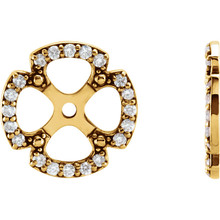 Each diamond earring jacket features 20 brilliant cut diamonds of G-H color and I1 clarity.  These earring jackets offer your existing diamond studs a dazzling new look, with a total of 1/5 carats.  Turn your favorite studs into a sophisticated pair of diamond earrings that cannot be ignored.  Pearls, gemstone or diamond studs are not included.