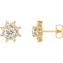 These pretty 14k Yellow gold earrings feature a cluster of sparkling round-cut diamonds. Radiant with 1 3/4 ct. tw. and has a bright polish to shine.