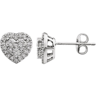 Superb style is found in these 14Kt white gold heart shape earrings accented with the brilliance of round full cut diamonds. Total weight of the diamonds is 3/8 carats.
