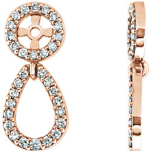 These stunning earring jackets dangle with real dazzle thanks to a total of 31 conflict free diamonds per earring, plus the stud you add yourself.  A real stand-out look, these 14k rose gold earring jackets turn your studs into a real show of dazzle and sophistication.