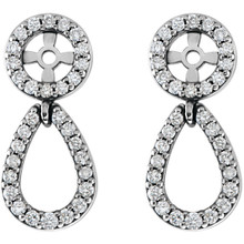 These stunning earring jackets dangle with real dazzle thanks to a total of 31 conflict free diamonds per earring, plus the stud you add yourself.  A real stand-out look, these platinum earring jackets turn your studs into a real show of dazzle and sophistication.