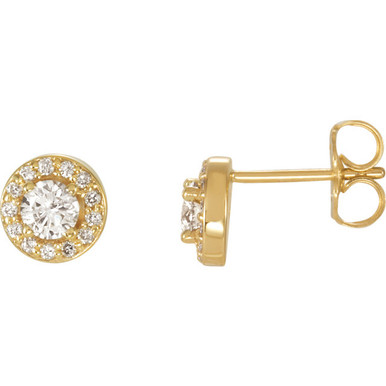 Dazzling diamonds are always an excellent choice and she'll absolutely adore these delightful studs. Fashioned in 14K yellow gold, each earring showcases a beautiful round diamond center stone surrounded by a double frame of smaller accent diamonds. Sparkling with 5/8 ct. t.w. of diamonds and finished with a bright polish, these post earrings secure comfortably with friction backs.