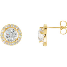 Dazzling diamonds are always an excellent choice and she'll absolutely adore these delightful studs. Fashioned in 14K yellow gold, each earring showcases a beautiful round diamond center stone surrounded by a double frame of smaller accent diamonds. Sparkling with 2 1/2 ct. t.w. of diamonds and finished with a bright polish, these post earrings secure comfortably with friction backs.