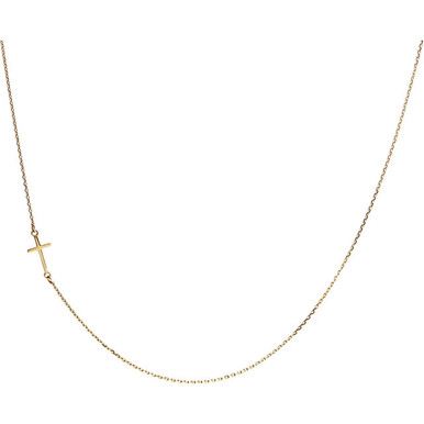 """An elegant way to show your faith, this simple polished, sideways cross necklace. Presented on a 16"""" diamond cut cable chain. 14kt yellow gold necklace."""