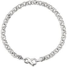 "Solid Charm 7"" Bracelet In 14K White Gold measures 4.5mm in width and has a bright polish to shine."