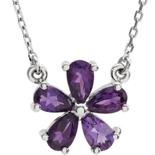 This 14k white gold necklace features an 05.00x03.00mm pear genuine amethyst gemstone and has a bright polish to shine. An 16 inch 14k white gold solid diamond cut cable chain is included.