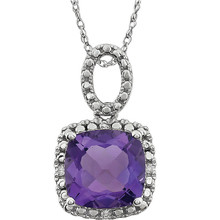 "Exquisite 14Kt white gold pendant captures the beauty of a genuine 9.00mm cushion cut amethyst accented by white shimmering diamonds hanging from an 18"" inch chain. Total weight of the diamonds is 0.03 total carat weight."