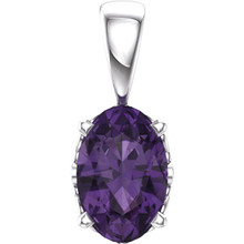This simple Amethyst Pendant is carefully crafted in 14kt White Gold. The pendant features a 06.00x04.00mm oval Amethyst colored gem set in a four-prong setting. This heirloom exotic gemstone pendant makes the perfect gift for any occasion. Chain sold separately!