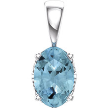 This simple Aquamarine Pendant is carefully crafted in 14kt White Gold. The pendant features a 06.00x04.00mm oval Aquamarine colored gem set in a four-prong setting. This heirloom exotic gemstone pendant makes the perfect gift for any occasion. Chain sold separately!