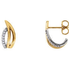 Superb style is found in these 14Kt yellow/white gold diamond freeform J-hoop earrings accented with the brilliance of 1/10 carat round full cut diamonds.
