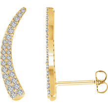 Beautiful pair of 14K Solid Yellow Gold Genuine Diamonds Ear Climbers Curved Design Earrings featuring 3/8 ct. tw. Round genuine Diamonds. They are set in brightly polished Solid 14K Yellow Gold.  These earrings makes an awesome Gift for that special someone in your life.