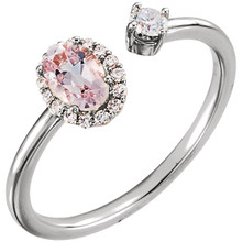 """14k White Gold Natural Morganite & Diamond Halo Negative Space Ring, Set with 1 qty 6 x 4 mm Oval Faceted Morganite which is equivalent to 0.43 carats. Total diamond carat weight in this ring is 1/6 CTW.  From the International Colored Gemstone Association: """"Alongside emerald and aquamarine, Morganite is certainly the best known gemstone from the colourful group of the beryls. Women the world over love Morganite for its fine pink tones which radiate charm, esprit and tenderness."""""""