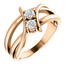 Made in rose gold, this exquisite design features two diamonds, representing both your friendship and loving commitment.