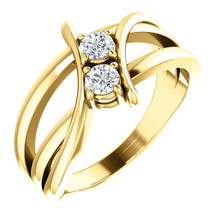 Made in yellow gold, this exquisite design features two diamonds, representing both your friendship and loving commitment.