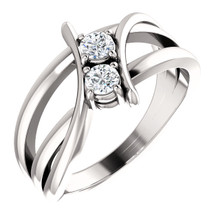 Made in platinum , this exquisite design features two diamonds, representing both your friendship and loving commitment.