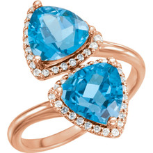 Made in rose gold, this exquisite design features Swiss Blue Topaz gemstones accented with full cut diamonds. Both gemstones representing your friendship and loving commitment.