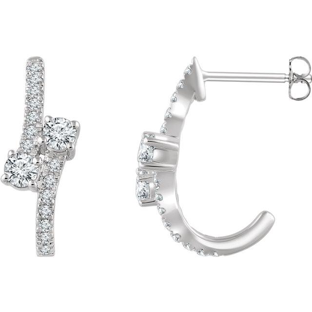 0ab305410b1fc Diamond Two-Stone J-Hoop Earrings In 14K White Gold (5/8 ct. tw.)