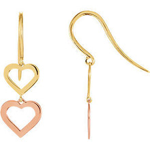 Heart Design Earrings In 14K Yellow/Rose Gold measures 22.65x7.30mm and has a bright polish to shine.