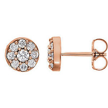 Superb style is found in these 14k rose gold cluster earrings accented with the brilliance of round full cut white diamonds.