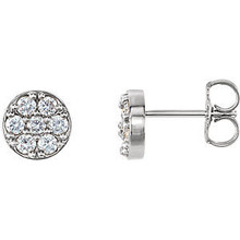 Superb style is found in these platinum cluster earrings accented with the brilliance of round full cut white diamonds.