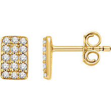 Superb style is found in these 14k yellow gold rectangle cluster earrings accented with the brilliance of round full cut white diamonds.