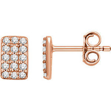 Superb style is found in these 14k rose gold rectangle cluster earrings accented with the brilliance of round full cut white diamonds.