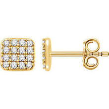 Superb style is found in these 14k yellow gold square cluster earrings accented with the brilliance of round full cut white diamonds.