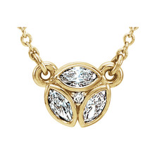 "Beautiful 14Kt yellow gold 3-stone marquise necklace featuring white shimmering diamonds with 1/4 carats of diamonds hanging from a adjustable 16-18"" inch cable chain. Polished to a brilliant shine."
