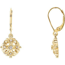 Superb style is found in these 14K Yellow Gold Diamond Filigree Dangle Lever Back Earrings accented with the brilliance of round full cut diamonds. Total weight of the diamonds is 1/10 carats.