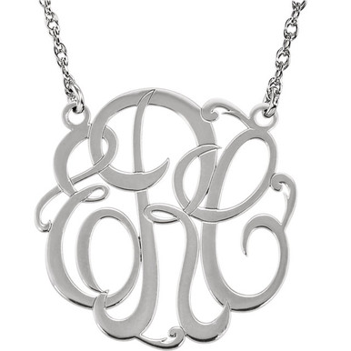 Give her a classic necklace that is personal and individual for her. Fashioned in 14k white gold, a circle frames three initials of your choice, in an elegant flowing script monogram font. Enter the initials in the order you would like them. Polished to a bright shine, the pendant suspends on a rope chain that secures with a spring-ring clasp.