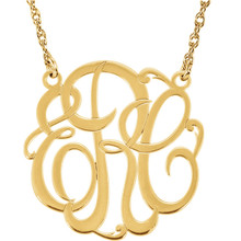Give her a classic necklace that is personal and individual for her. Fashioned in 14k yellow gold, a circle frames three initials of your choice, in an elegant flowing script monogram font. Enter the initials in the order you would like them. Polished to a bright shine, the pendant suspends on a rope chain that secures with a spring-ring clasp.