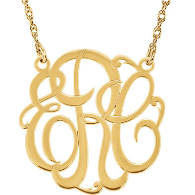 Give her a classic necklace that is personal and individual for her. Fashioned in 10k yellow gold, a circle frames three initials of your choice, in an elegant flowing script monogram font. Enter the initials in the order you would like them. Polished to a bright shine, the pendant suspends on a rope chain that secures with a spring-ring clasp.