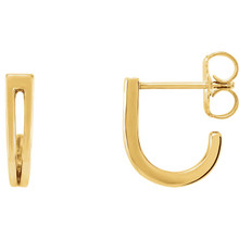 Beautiful 14Kt yellow gold Geometric J-Hoop earrings with friction backs. The size of the earring is 11.1x9.74mm. Total weight of the gold is 1.57 grams.