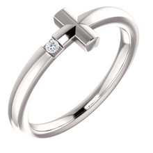 Featuring a round-cut diamond, this 14k white gold sideways cross youth ring is a dazzling way to showcase your faith.