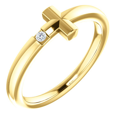 Featuring a round-cut diamond, this 14k yellow gold sideways cross youth ring is a dazzling way to showcase your faith.