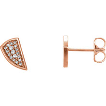 Good things come in small packages, as you can plainly see with our diamond geometric earrings. Set in elegant 14Kt rose gold, they are great earrings to buy for yourself or for someone else.