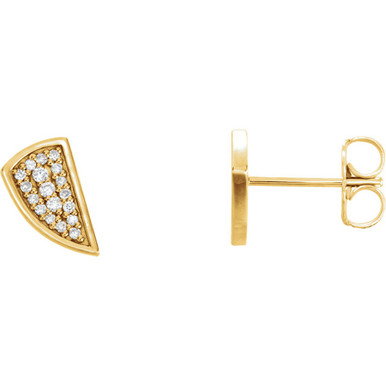 Good things come in small packages, as you can plainly see with our diamond geometric earrings. Set in elegant 14Kt yellow gold, they are great earrings to buy for yourself or for someone else.