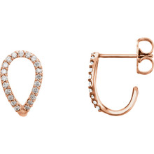 Simple and stylish, you're right on trend with these geometric earrings. Set in 14kt rose gold with 42 sparkly diamonds weighing .20 ct tw.