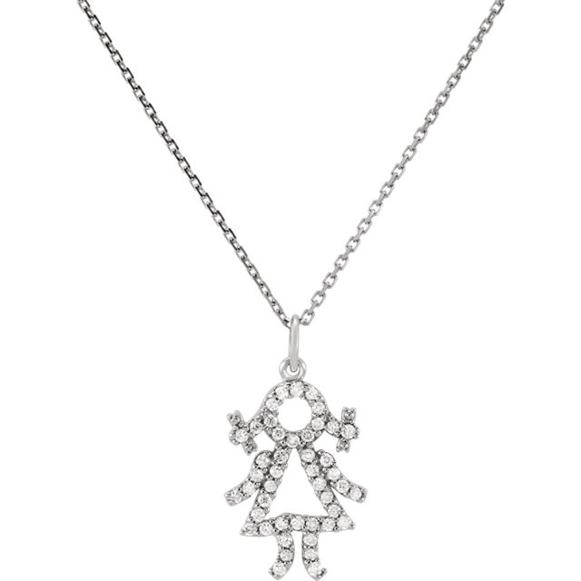 Diamond Baby Girl 16 Necklace In 14k White Gold 1 5 Ct Tw