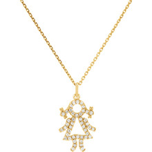 Diamond baby girl necklace fashioned in 14k yellow gold. Diamond weight is 1/5, G-H in color and I1 or better in clarity. Comes with a 16.00 inch 14k yellow gold solid cable chain and has a bright polish to shine.