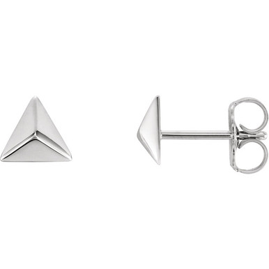 Beautiful platinum pyramid earrings with friction backs. The size of the earring is 5.55x5.55mm. Total weight of the gold is 1.21 grams.